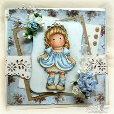 Love these Tilda stamps.. This card is so beautiful.. I love the blues.