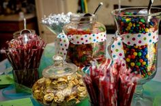 Candy buffet for baby boy shower.