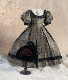 Green Silk Taffeta Gown With Velvet Bonnet. Circa 1860. http://Theriaults.com