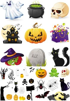 3 Set with 31 vector Halloween illustrations of black cats, scary pumpkins, castles and creepy houses, witches, gravestones, bags with candies, ghosts, skulls, bats, spiders and spider webs for your Halloween invitations, greeting cards, posters, decorations and brochures. Format: EPS…