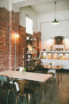 Ali & Dustin's Reinvented Piece of Denver History: The Black Eye Coffee Shop — Workspace Tour My Coffee Shop, Coffee Shop Design, Coffee Cafe, Coffee Shops, Cafe Bar, Cafe Shop, Deli Cafe, Design Café, Cafe Design