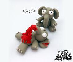 Dead Elephant LOL by Dee Raa Arts polymer clay cute kawaii sculpey fimo https://www.facebook.com/DeeRaaArts