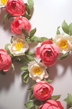 Peony & Poppy paper flower wreaths, handmade by Papetal