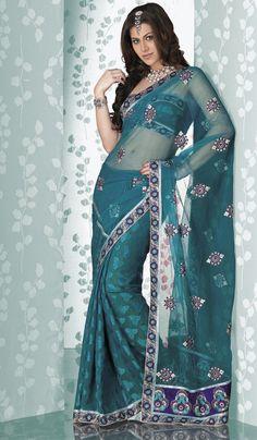 Teal Blue #Designer Indian #Saree