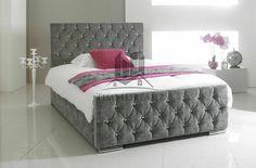 Diamond grey bed frame king platform headboard bedrooms ideas for teenage girl . Velvet Bedroom, Glam Bedroom, Room Ideas Bedroom, Bedroom Sets, Bedroom Decor, Master Bedroom, Stylish Bedroom, Bedroom Inspo, Bed Room