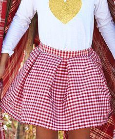 Red & White Check Addy Skirt - Toddler & Girls