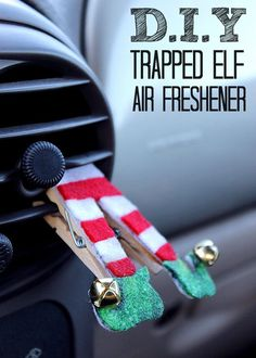This DIY Trapped Air Vent Elf Air Freshener is easy to make with a hot glue gun, some felt, and your favorite essential oil (we suggest peppermint)! Check out the tutorial! #FallForPennzoil @walmart AD