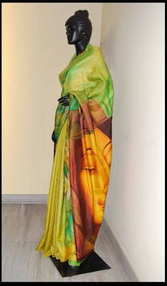 This green color hand-painted saree is on sale. Buy this saree with Panache Haute Couture and get attractive discount.