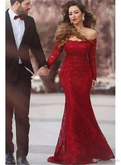 Sexy Red Full Lace Mermaid Formal Evening Dresses With Long Sleeve 2017 Sweep Train Plus Size Celebrity Prom Party Gowns New Arrival Wholesale Evening Dresses Beautiful Evening Dresses From Flodo, $100.51| Dhgate.Com