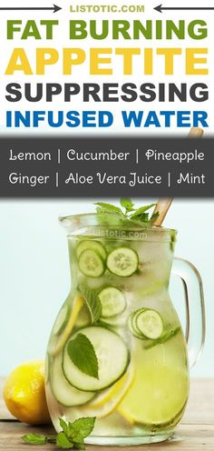 The ultimate fat burning detox drink recipe for weight loss! This infused water suppresses your appetite and tastes so refreshing! Hello flat tummy! Listotic