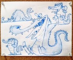 Alligators, Animal Sketches, Animal Drawings, Cartoon Drawings, Cartoon Art, Comic Books Art, Comic Art, Character Drawing, Character Design
