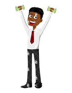 A Black Man Holding Some Money With Both Hands Up In The Air:  #abundance #abundant #affiliate #affluent #african #african-american #american #black #boss #business #businessman #capitalist #career #cartoon #cash #CEO #character #clipart #company #conor #corporate #corporation #dollars #drawing #economical #economy #enterprise #entrepreneur #euphoric #executive #finance #financial #financier...