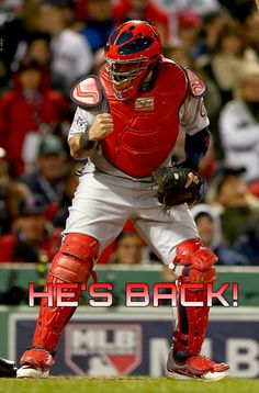 Yadi's back in the Cards lineup for the last 30 games of the season after tearing a ligament in his thumb on July 9. 8/29/14