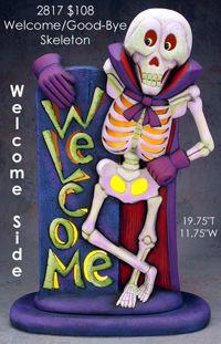 "Ceramic Bisque Ready to Paint Welcome/Goodbye Skeleton Greeter ""Large"" Halloween Yard Art, Halloween Clay, Halloween Themes, Halloween Decorations, Pottery Painting, Tole Painting, Ceramic Painting, Painted Ceramics, Food Crafts"