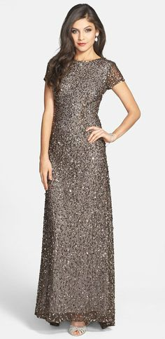 Sequin mesh gown with cap sleeves by Adrianna Papell