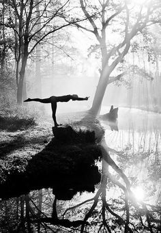 beautiful nature yoga black and white
