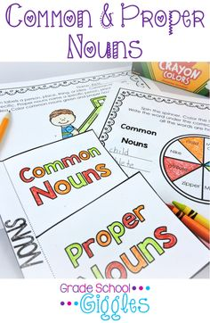 Find everything you need to teach about common and proper nouns in one place! 2nd Grade Activities, Grammar Activities, Classroom Activities, Classroom Fun, 1st Grade Writing, 2nd Grade Reading, Interactive Word Wall, Interactive Notebooks, Common And Proper Nouns
