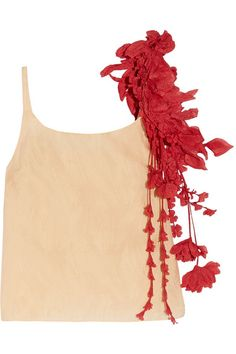 GABRIELLE'S AMAZING FANTASY CLOSET | Rosie Assoulin's Nude Silk-Blend Camisole Top with a Red Organza Floral Garland on the Shoulder.  I'm showing it with a Primal Red Seersucker Tiered Maxi-Skirt.  You can see the Whole Outfit and my Remarks on this board. - Gabrielle