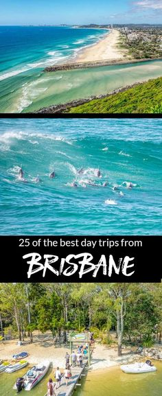Top 25 day trips from Brisbane. Looking to head to the beach the rainforest an island escape wildlife adventure inland city or a mountain village? We have ideas to suit all moods interests and energy levels. Perth, Coast Australia, Visit Australia, Queensland Australia, Western Australia, Brisbane Beach, Fishing Australia, Australia House, Australia Trip