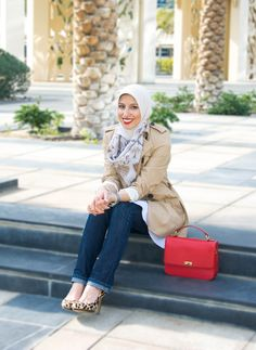 HH Style Guide: Classic Spring Trench + Fancy Flare Bottom Top - Haute Hijab
