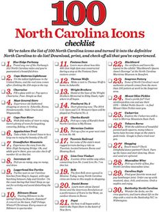 100 North Carolina Icons .... Download the definitive North Carolina to-do list, inspired by our 100 North Carolina icons. I've been blessed to have experienced most of these, now its time to get the kids started on their memories of The Ol' North State!