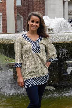 Gold and Navy Print Top – Madison Kate Boutique