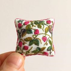 Excited to share this item from my shop: Miniature pillow. Hand Embroidery Patterns, Floral Embroidery, Cross Stitch Embroidery, Miniature Crafts, Miniature Dolls, Textiles, Kawaii, Tiny Treasures, Miniture Things