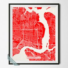 Jacksonville Print Florida Poster Jacksonville Map by VocaPrints