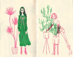 Girls and Plants Zine — Bijou Karman Geometric Designs, Zine, Pink And Green, Photo Art, Illustration Art, Neon, Drawings, Prints, Girls