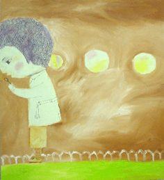 Katja Tukiainen, The blow, Puhaltava poika, oil and pencil on board, 2005 Finland Finland, Pencil, Oil, Board, Illustration, Painting, Painting Art, Paintings, Illustrations
