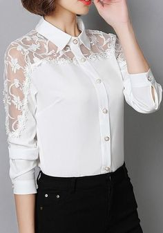 45 White Elegant Blouses That Always Look Fantastic – Global Outfit Experts - lace things Modest Fashion, Hijab Fashion, Fashion Dresses, Fashion Top, Womens Fashion, Blouse Styles, Blouse Designs, Hijab Stile, Sleeves Designs For Dresses