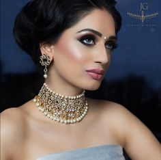 This kundan and pearl choker is timeless and elegant-a piece you can wear over and over with many different looks. Ad campaign by Jewels n Gems (www.jewelngem.com).