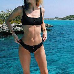 Ribbed Sporty Button Up Crop Top Bikini Set - worthtryit.com