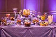 Candy Table Imagine That! Lavender Pin Tuck from Linens by Lisa and photos by David Jones Photography