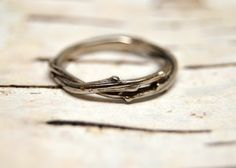 14kt+White+Gold+Unity+Ring++Gold+Entwined+Twig+by+OliviaEwing,+$348.00