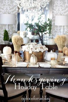 Thanksgiving holiday table ideas, white pumpkins, harvest style.MODERN VINTAGE MARKET