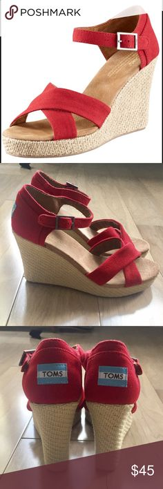 082bbe9a4cc230 NEW Toms Red Wedge Canvas Sandals 8.5 NEW Toms Red Wedge Canvas Sandals  Size 8.5 Tried