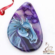 Hand Painted Horse Agate Slice Gemstone Necklace Pendant Jewlery D1707 0031 #ZL #Pendant