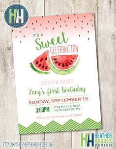 girl first birthday watermelon invite red by HeatherHughesDesign
