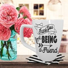 Thank You For Being A Friend-The Golden Girls-16oz. White Ceramic Mug With Graphic-Golden Girls Mug-Great Gift For Best Friend