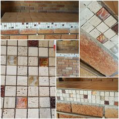 My first DIY tiling mosaic. Sprucing up my bar counter in the outside entertainment area. Lapa for the Saffies. Travertine tiles