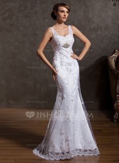 Wedding Dresses - $198.99 - Mermaid Sweetheart Court Train Satin Tulle Wedding Dress With Lace Beadwork Sequins (002014955) http://jjshouse.com/Mermaid-Sweetheart-Court-Train-Satin-Tulle-Wedding-Dress-With-Lace-Beadwork-Sequins-002014955-g14955
