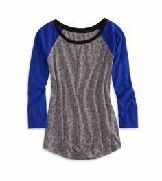 AE Striped Baseball T-Shirt; dark gray/light gray size S