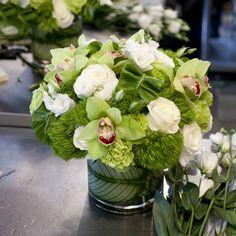 Low modern vase arrangement