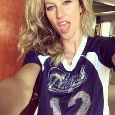Giselle Bunchen cheering on her quarterback husband patriots Tom Brady who just won another Superbowl