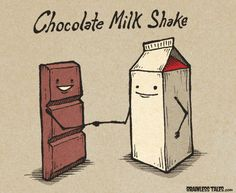 Funny pictures about Chocolate Milk Shake. Oh, and cool pics about Chocolate Milk Shake. Also, Chocolate Milk Shake photos. Cute Puns, Funny Puns, Funny Cartoons, Funny Quotes, Funny Humor, Funny Stuff, Funny Food Jokes, Cutest Quotes, Science Cartoons