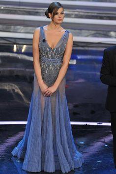 Ivana Mrazova in Alberta Ferretti at Festival di San Remo
