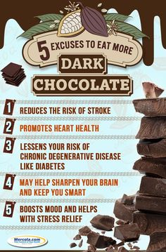 Dark chocolate is a healthier alternative to common, processed chocolate. Here are five reasons why you should eat dark chocolate. #chocolate #health