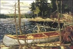 """The Canoe"", by member of the Group of Seven Canadian painters,Tom Thomson, 1912 Emily Carr, Group Of Seven Art, Group Of Seven Paintings, Canadian Painters, Canadian Artists, Tom Thomson Paintings, Canada Landscape, Lakeside View, Algonquin Park"