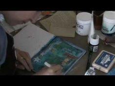 art journaling video using layering, stenciling, transfer, stamping